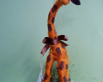 Jerome the Giraffe in Wagon Felted Ornament/Figurine