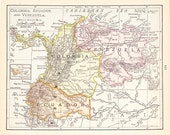 1900 Map Columbia Ecuador and Venezuela - Vintage Antique Map Great for Framing 100 Years Old