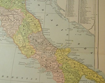 1887 Map Italy - Vintage Antique Map Great for Framing 100 Years Old
