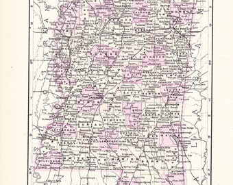1895 State Map Mississippi - Vintage Antique Map Great for Framing 100 Years Old