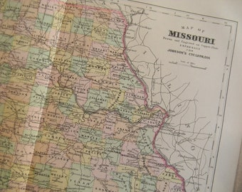 1897 State Map Missouri - Vintage Antique Map Great for Framing 100 Years Old