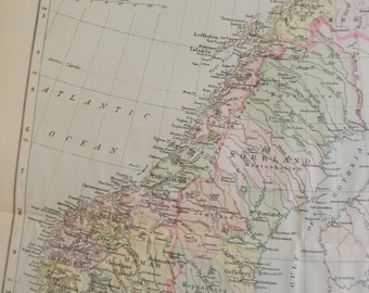 1897 Map Norway and Sweden - Vintage Antique Map Great for Framing 100 Years Old