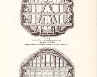 1892 Technical Drawing - Hoosac Tunnel - Antique Math Geometric Drafting Interior Design Blueprint Art Illustration Framing 100 Years Old