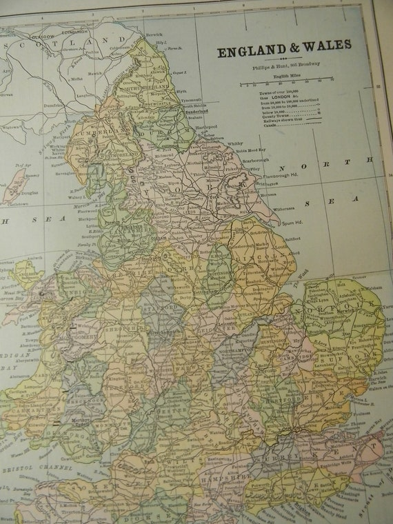1887 Map England and Wales - Vintage Antique Map Great for Framing 100 Years Old