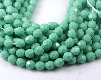 Czech Faceted Round Beads - Opaque Turquoise 6mm (25 pc) (c106)