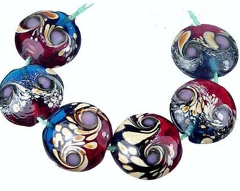 Lampwork Glass Moonlight Garden Lentil Beads 18mm (L236)