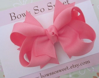 Pink Hair Bow, Boutique Layered Hair Bow, Spiked Layers Girls Hair Bows...Old Rose Pink