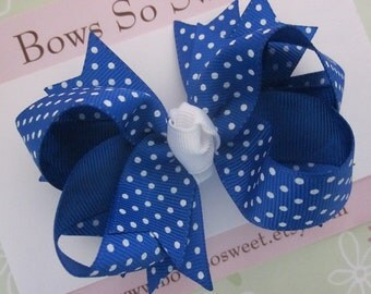 Royal Blue Swiss Dot Hair Bow, Boutique Layered Hair Bow, Spiked Layers Girls Hair Bows