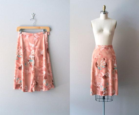 1970s skirt / knee length floral skirt / Orchid Lane
