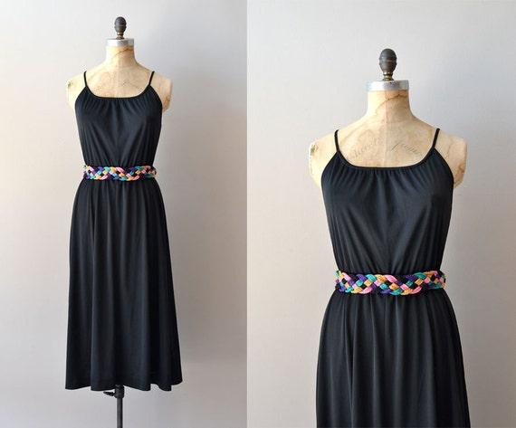 70s jersey dress / black 1970s wrap dress / Chiclet dress