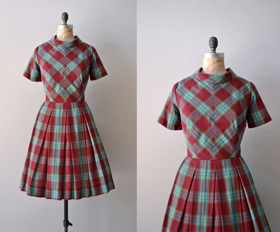 1950s plaid dress / 50s dress / Ciderhouse Plaid dress