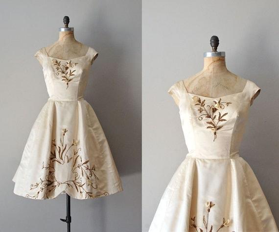 1950s wedding dress / silk 50s dress / beaded wedding dress / An Impossible Dream