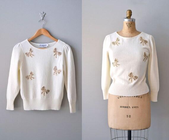80s sweater / cream sweater / Sparkle Bow sweater
