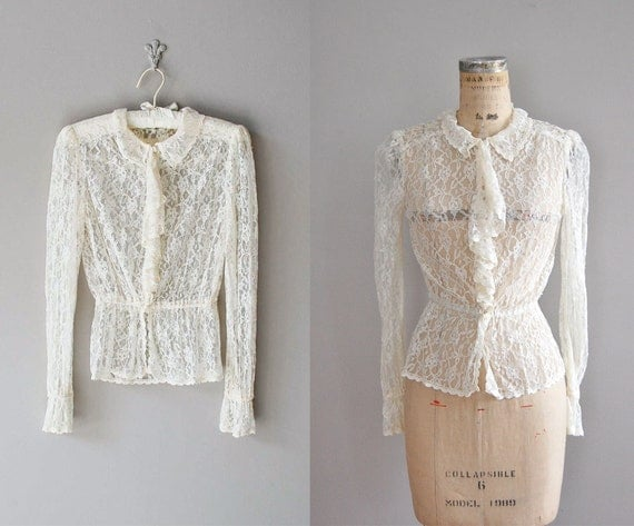 vintage lace blouse / cream lace peplum blouse / Longline Lace