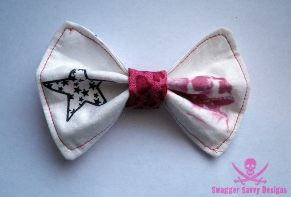Custom Swagger Savvy Designs Fabric Bow with Skull and Star
