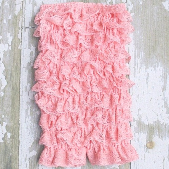 Clearance Sale Petti Lace Ruffle Romper Baby Pink Coral Rose Large