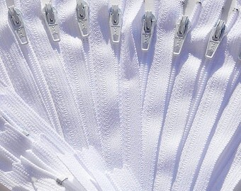 "16"" Wholesale Ykk Zippers White 50 Zippers YKK #3 Nylon Dress & Pillow Zipper~ZipperStop Wholesale Authorized Distributor YKK®"