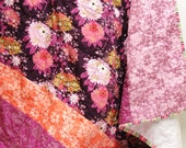"""baby girl quilt- purple, plum, lavender,  coral floral- """"Enchanted Garden"""" READY TO SHIP"""