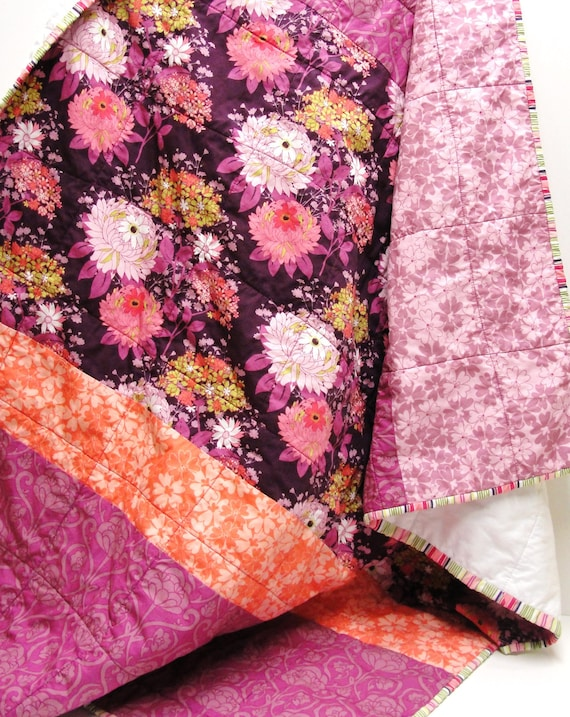 "baby girl quilt- purple, plum, lavender,  coral floral- ""Enchanted Garden"" READY TO SHIP"