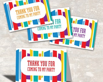 PRINT & SHIP Mod Stripe Birthday Party Favor Bag Toppers (set of 12) >> personalized and shipped to you   Paper and Cake