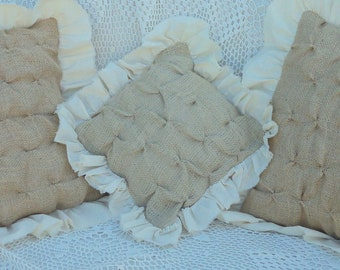 """12"""" square Burlap Pillow Cover -Sweet French Style Smocking and Muslin Ruffles"""