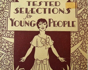 Vintage art deco book theater poetry ephemera Tested Selections for Young People 1929 rare