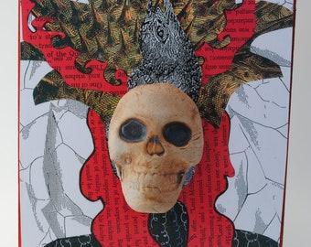 mixed media art painting assemblage wall art collage art skull ceramic mask