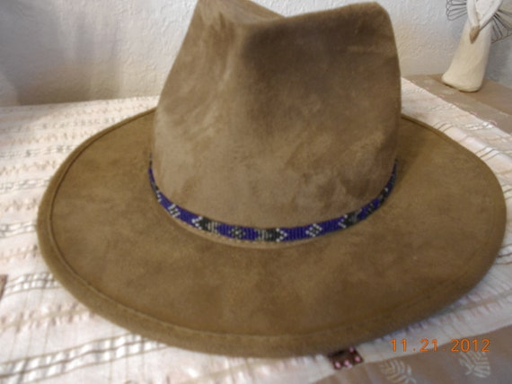 For Hirschbein  Beaded Hat Band  Blue, Black, White, Silver