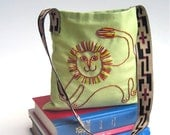 RESERVED - Organic Messenger Bag - Kids Hip Bag Hand Embroidered Lion on Eco Friendly Green Cotton Canvas