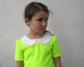 Neon Girls Dress- The Rosie Dress - With White Peter Pan Collar- Modern, Kids, Spring, Fashion (Made To Order 2T 3T 4T 5T 6T)