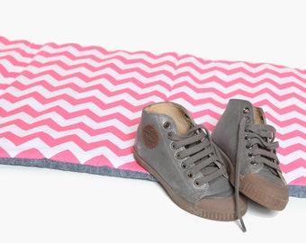 Preschool NapMat - Pink Chevron with Organic Denim- School Nap Pad - Eco Friendly, Modern, Kids, Bedding