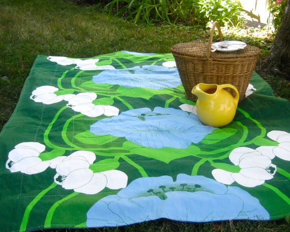 RESERVED - Picnic Blanket - Quilted Summer Beach Blanket with Vintage Dutch Midcentury Modern Aqua Blue Green Garden Flowers (Ready To Ship)