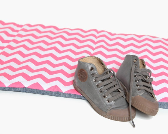 Preschool NapMat - Pink Chevron with Organic Denim- School Nap Pad - Eco Friendly, Modern, Kids, Bedding