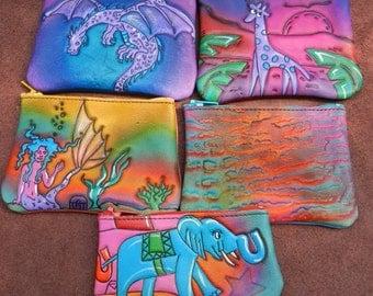 Handmade Leather/ Zipper Coin Change Purse SET, giraffe,dragon,mermaid,elephant, Airbrushed Hand Painted,