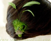 Fascinator - MOSSY PLUME - Green Peacock Moss Feather Clip