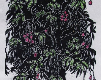 Red Mangoes  Limited edition linoleum block print with water color, printed and signed in pencil by the artist