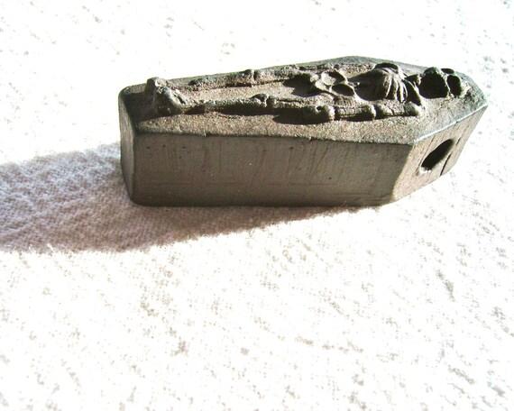 Black Clay Skeleton Coffin Pendant, Large