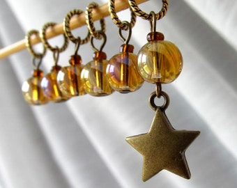 Shine On - Six Handmade Stitch Markers - Fits Up To 5.0 mm (8 US) - Limited Edition