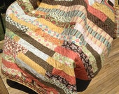 FREE SHIPPING, Nice Lap Quilt, 48 x 63 inches, Reproduction 70's Retro fabrics