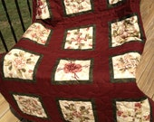 FREE SHIPPING, Nice Wall Hanging/Table Topper Quilt, 35 x 46 inches, Stack and Whack Features