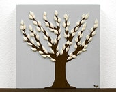 Gift for Him - Contemporary Canvas Artwork - Textured Tree Painting in Gray and Brown - Mini 6x6