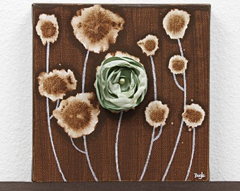 Small Mixed Media Painting - Flower Art on Canvas in Brown and Green - Mini 6x6