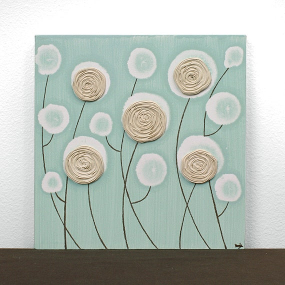 acrylic painting on small canvas flower wall art 10x10. Black Bedroom Furniture Sets. Home Design Ideas