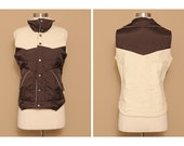 Two-Tone Reversible Quilted Winter Puffer Vest, size M