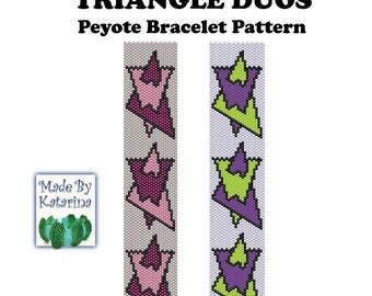 Peyote Pattern - Triangle Duos - INSTANT DOWNLOAD PDF - Peyote Stitch Bracelet Pattern - Geometric Pattern - One Drop Even Peyote