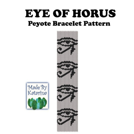 Peyote Pattern - Eye of Horus - INSTANT DOWNLOAD PDF - Peyote Stitch Bracelet Pattern - Peyote Egypt Pattern - Mythology Pattern
