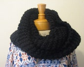 Black Knit Infinity Loop  Scarf- Black Soft  Warm Urban Outfitters  Inspired OOAK