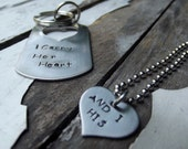 Pieces of Us Pendant and keychain, 1 for him and 1 for her
