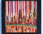 Chicago In Red 7x7 Box Frame Art Print on canvas by Anastasia Mak