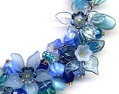 New Fringe Style Blue Teal, Necklace OOAK. Blue Color Necklace, Daffodil  Necklace Handmade Jewelry by AnnaArt72